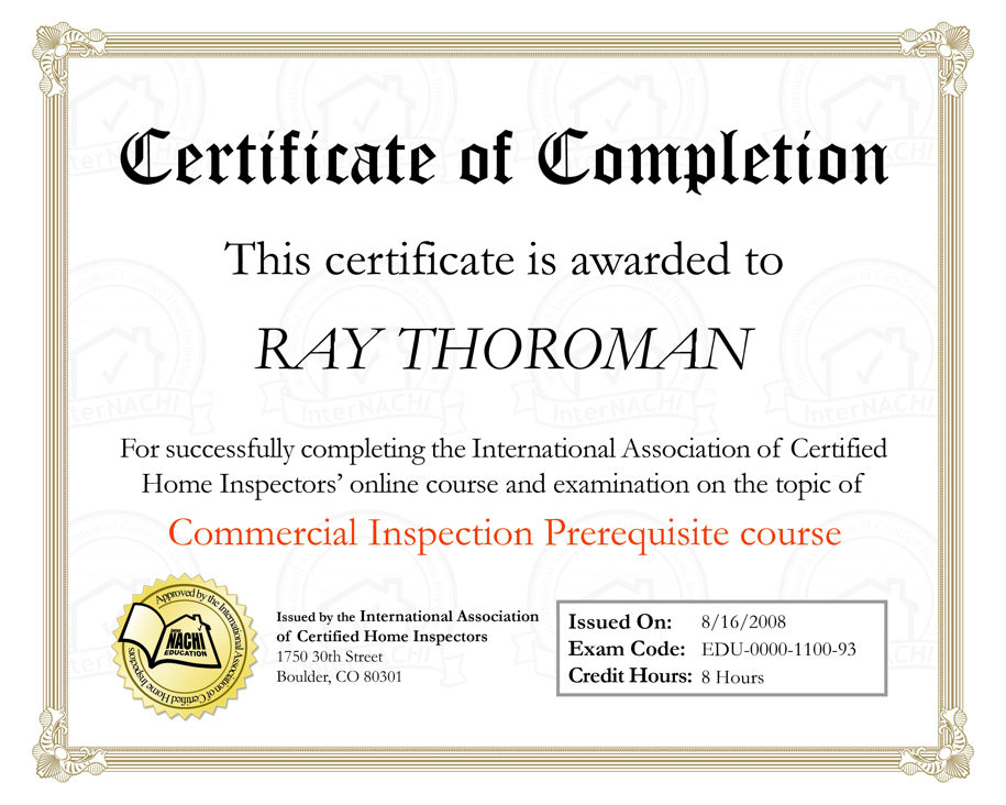 Certificate Commercial Inspection